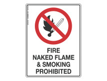 Fire Naked Flame & Smoking Prohibited - Prohibit Sign