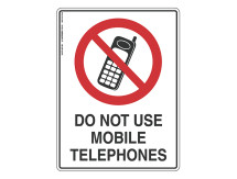 Do Not Use Mobile Phones - Prohibit Sign