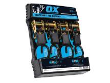 25mm x 4mtr Ox Ratchet Tie Down Strap (4pk)