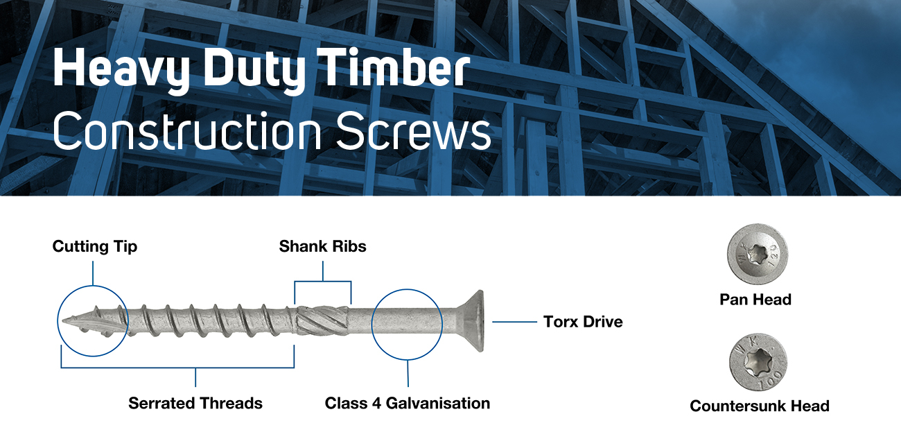 Diagram of Heavy Duty Construction Screws for Landscaping, Sleepers, Gardening, and General Construction